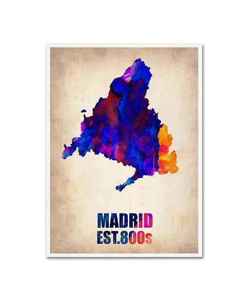 "Trademark Global Naxart 'Madrid Watercolor Map' Canvas Art - 19"" x 14"" x 2"""