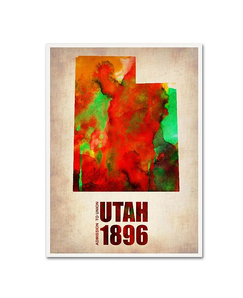 "Trademark Global Naxart 'Utah Watercolor Map' Canvas Art - 24"" x 32"" x 2"""