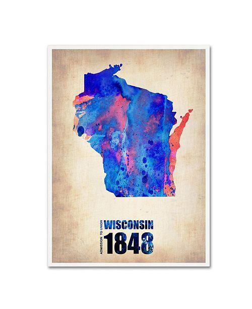 "Trademark Global Naxart 'Wisconsin Watercolor Map' Canvas Art - 19"" x 14"" x 2"""