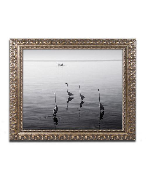 "Trademark Global Moises Levy '4 Herons and Boat' Ornate Framed Art - 20"" x 16"" x 0.5"""