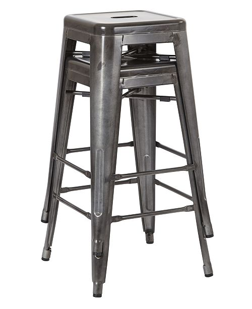 "Office Star Bristow 26"" Antique Metal Barstools, 2-pack"