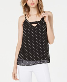 Bar III Dot-Print Keyhole Top, Created for Macy's