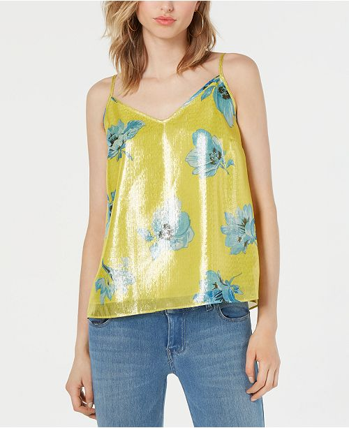 Bar III Sleeveless Printed Shine Top, Created for Macy's