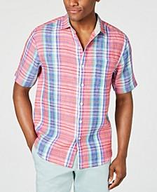 Men's Tellaro Plaid Linen Camp Shirt