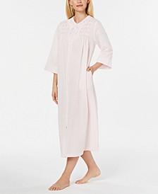 Embroidered Seersucker Long Zip-Up Robe