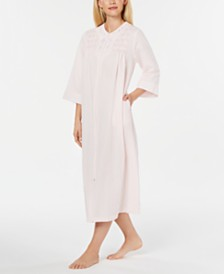 Miss Elaine Embroidered Seersucker Long Zip-Up Robe