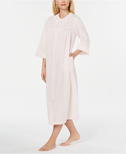 Miss Elaine Embroidered Seersucker Long Zip-Up Robe