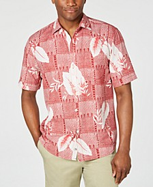 Men's Plaza Palms Geo Palm-Print Silk Camp Shirt