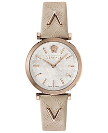 Women's Swiss V-Twist Ivory Leather Strap Watch 36mm