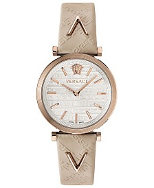 Versace Women's Swiss V-Twist Ivory Leather Strap Watch 36mm