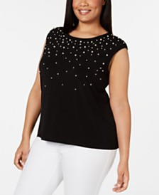 Calvin Klein Plus Size Embellished Top
