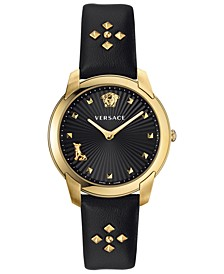 Women's Swiss Audrey V. Black Leather Strap Watch 38mm