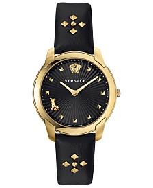 Versace Women's Swiss Audrey V. Black Leather Strap Watch 38mm