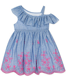 Rare Editions Baby Girls One-Shoulder Eyelet Dress