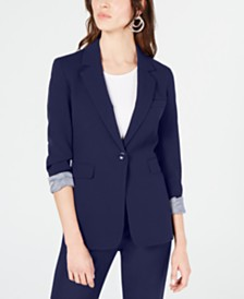 Bar III Bi-Stretch One-Button Jacket, Created for Macy's