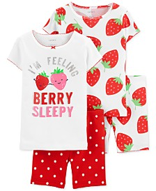 Carter's Toddler Girls 4-Pc. Cotton Strawberry Pajamas Set