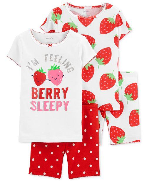 Carter's Toddler Girls 4-Pc. Cotton Strawberry Pajamas Set