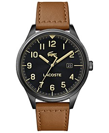 Men's Continental Tan Leather Strap Watch 43mm
