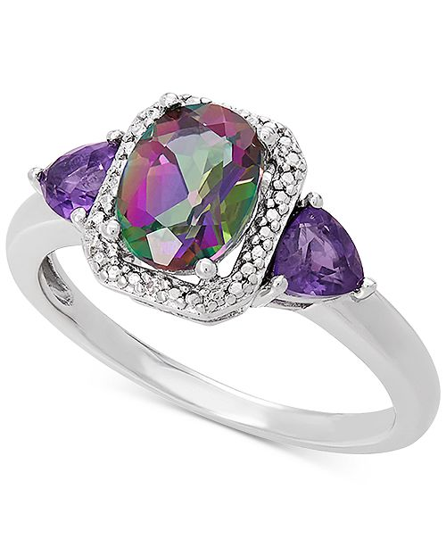 Macy's Multi-Gemstone (1-9/10 ct. t.w.) & Diamond Accent Statement Ring in Sterling Silver
