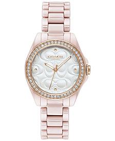 COACH Women's Astor Blush Ceramic Bracelet Watch 28mm