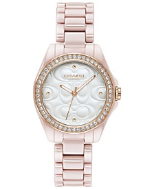 COACH Women's Astor Blush Ceramic Bracelet Watch 28mm