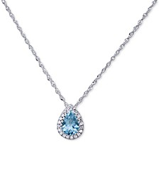 "Aquamarine (1/2 ct. t.w.) & Diamond Accent 18"" Pendant Necklace in 14k White Gold"