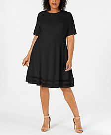 Plus Size Illusion-Trim A-Line Dress
