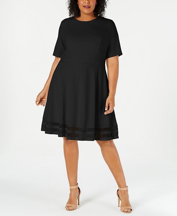 Calvin Klein Plus Size Illusion-Trim A-Line Dress