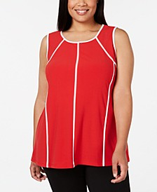 Plus Size Piped-Trim Tank Top, Created for Macy's
