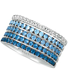 Le Vian® Blueberry Layer Cake Blueberry Sapphires (1-1/4 ct. t.w.) & Vanilla Sapphires (1/3 ct. t.w.) Ring in 14k White Gold