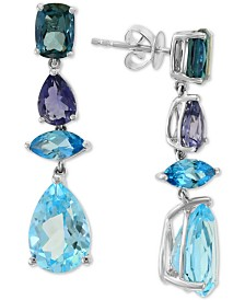 EFFY® Multi-Gemstone (12-5/8 ct. t.w.) Drop Earrings in 14k White Gold