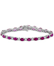 EFFY® Certified Ruby (10-3/4 ct. t.w.) and Diamond (1/2 ct. t.w.) Tennis Bracelet in 14k White Gold