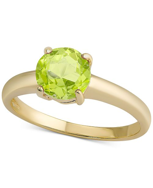 Macy's Peridot Solitaire Ring (1-1/4 ct. t.w.) in 18k Gold-Plated Sterling Silver (Also Available in Ruby)