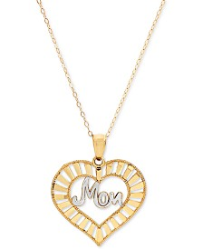 "Mom Heart 18"" Pendant Necklace in 10k Gold"