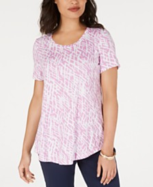 JM Collection Printed Scoop-Neck Top, Created for Macy's
