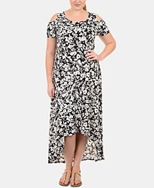 Plus Size Cold-Shoulder High-Low Dress