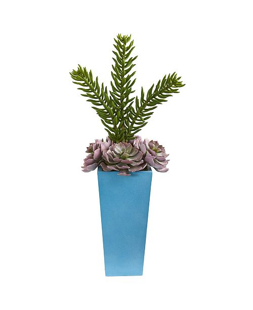 """Nearly Natural 33"""" Echeveria and Spiky Succulent Artificial Plant in Blue Planter"""