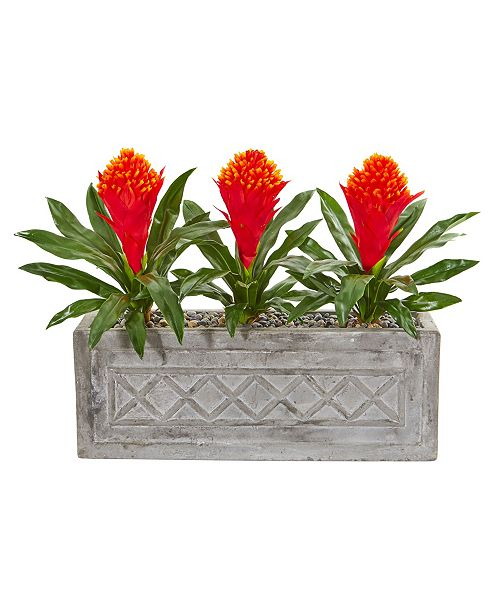 """Nearly Natural 20"""" Bromeliad Artificial Plant in Stone Planter"""