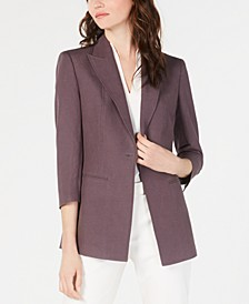 Peak-Collar Single-Button Blazer