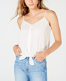 Juniors' Button Tie-Front Tank Top