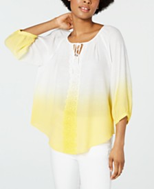 BCX Juniors' Dip-Dyed Peasant Top