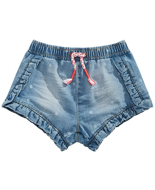 First Impressions Baby Girls Ruffle Denim Shorts, Created for Macy's