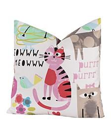Purrty Cat Designer Throw Pillow