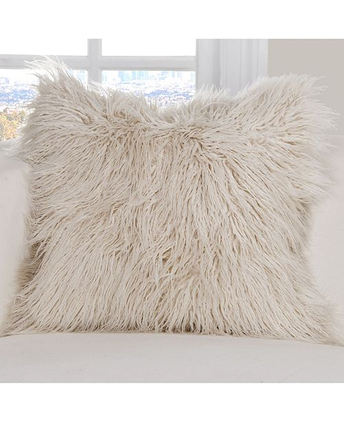 "PoloGear Llama Faux Fur 16"" Designer Throw Pillow"
