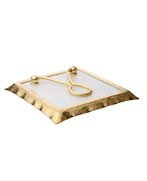 "Classic Touch 7.75"" Square Marble Napkin Holder with Rim"
