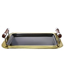"16.5"" Rectangular Tray with Gold Border"