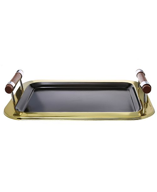 "Classic Touch 16.5"" Rectangular Tray with Gold Border"