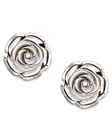 Sterling Silver Earrings, Cultured Tahitian Mother of Pearl Flower Stud Earrings (18mm)