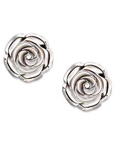 Sterling Silver Earrings, Cultured Tahitian Mother of Pearl Flower Stud Earrings (18mm)