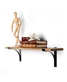 Danya B. Rustic Pine Shelf with Metal Brackets